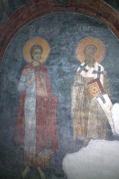 Sfântul Partenie, Episcopul Lampsakului (în dreapta, prăznuit pe 7 februarie) şi Sfântul Evdochim (în stânga, prăznuit pe 31 iulie) în Mănăstirea Grachanica
